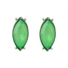 ต่างหูคริสตัล แฟชั่นทองคำขาว14Kหรูคู่โอปอลสีเขียวสวย CZ White Gold Earrings นำเข้า - พร้อมส่งW578 ลดราคา99บาท