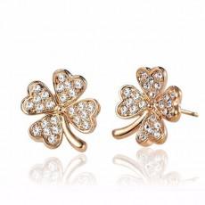 ต่างหูคริสตัล แฟชั่นทองคำ14Kหรูรูปดอกไม้กลีบหัวใจ Crystal Gold Earrings นำเข้า สีทอง - พร้อมส่งW579 ราคา350บาท
