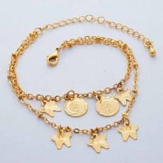 สร้อยข้อมือแฟชั่นเกาหลีใหม่สวยวงกลมผีเสื้อหรูหรา 24K Gold Bracelet นำเข้า สีทอง - พร้อมส่งW586 ราคา350บาท