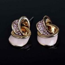 ต่างหูคริสตัล แฟชั่นเกาหลี2ห่วงไขว้กันสวยมาก Pink Crystal Earring นำเข้า สีทอง - พร้อมส่งW594 ลดราคา99บาท