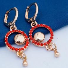ต่างหูคริสตัล แฟชั่นเกาหลีต่างหูห่วงวงกลมแต่งตุ้งติ้งสวย 18K GOLD Earring นำเข้า สีแดง - พร้อมส่งW599 ลดราคา99บาท