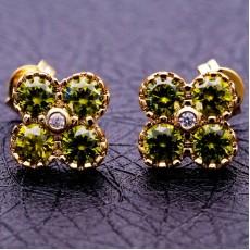 ต่างหูเพชร แฟชั่นเกาหลีประดับคริสตัลทองคำ CZ Gold Earrings นำเข้า สีเขียว - พร้อมส่งW607 ลดราคา99บาท