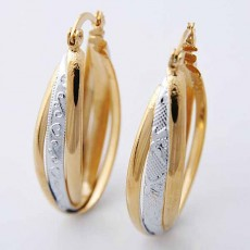 ต่างหูห่วงใหญ่ แฟชั่นเกาหลีทรงวงรีสวยแบบ2กษัตริย์ 18K Hoop Earrings นำเข้า สีเงินทอง - พร้อมส่งW615 ลดราคา99บาท