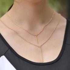 สร้อยคอแฟชั่น เส้นเล็กยาวระย้า2ชั้นจี้ทรงกระบอกตรง 2 Chain Necklace นำเข้า สีทอง - พร้อมส่งW624 ราคา250บาท