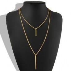 สร้อยคอแฟชั่น เส้นเล็กยาวระย้า2ชั้นจี้ทรงกระบอกตรง 2 Chain Necklace นำเข้า สีทอง - พร้อมส่งW624 ราคา119บาท