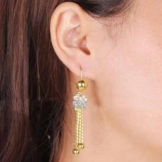 ต่างหูระย้า แฟชั่นเกาหลีคริสตัลแต่งตุ้งติ้งสวยหรู 18K Drop Dangle Earrings นำเข้า สีทอง - พร้อมส่งW631 ลดราคา99บาท