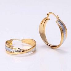 ต่างหูห่วง แฟชั่นเกาหลีลายตาข่ายทรงวงรีสวย2กษัตริย์ 14K Hoop Earrings นำเข้า สีเงินทอง - พร้อมส่งW633 ลดราคา99บาท