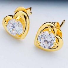 ต่างหูเพชร แฟชั่นเกาหลีคริสตัลรูปหัวใจทองคำ CZ Gold Earrings นำเข้า สีขาว - พร้อมส่งW635 ลดราคา99บาท