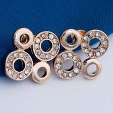 ต่างหูคริสตัล รูปวงกลมสี่วงงดงามแฟชั่นเกาหลีสวย CZ 18K Gold Earrings นำเข้า สีทอง - พร้อมส่งW641 ลดราคา99บาท