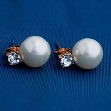 ต่างหูมุกคริสตัล ของขวัญแฟชั่นเกาหลีสวย 18K Gold Pearl Earrings นำเข้า สีทอง - พร้อมส่งW643 ลดราคา99บาท