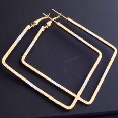 ต่างหูรูปสี่เหลี่ยม แฟชั่นเกาหลี2กษัตริย์หรูวงใหญ่ Square 18K Hoop Earrings นำเข้า สีทอง - พร้อมส่งW653 ลดราคา99บาท