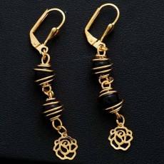 ต่างหูระย้า แฟชั่นเกาหลีประดับลูกปัดสีดำตุ้งติ้งสวยหรู 24K Drop Tassel Earrings นำเข้า สีทอง - พร้อมส่งW657 ลดราคา99บาท