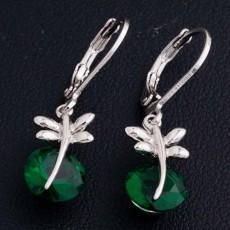 ต่างหูเพชร แฟชั่นเกาหลีประดับเพชรสวิสมรกต CZ White Gold Earrings นำเข้า สีเขียว - พร้อมส่งW659 ลดราคา99บาท