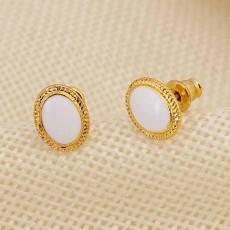 ต่างหูรูปวงรี แฟชั่นเกาหลีทองคำเนื้อ 18K Jewelry Earrings เป็นของขวัญ นำเข้า สีขาว - พร้อมส่งW662 ลดราคา99บาท