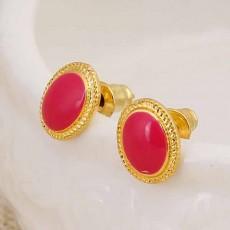 ต่างหูรูปวงรี แฟชั่นเกาหลีทองคำเนื้อ 18K Jewelry Earrings เป็นของขวัญ นำเข้า สีชมพู - พร้อมส่งW662 ลดราคา99บาท