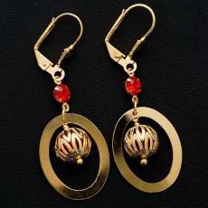ต่างหูระย้า แฟชั่นเกาหลีประดับคริสตัลสีแดงห่วงล็อค 24K Drop Tassel Earrings นำเข้า สีทอง - พร้อมส่งW663 ลดราคา99บาท