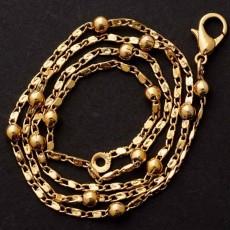 สร้อยคอแฟชั่น เส้นเล็กดีไซน์สายโซ่สลับลูกบอลกลม 24K Gold Necklace นำเข้า สีทอง - พร้อมส่งW665 ราคา300บาท