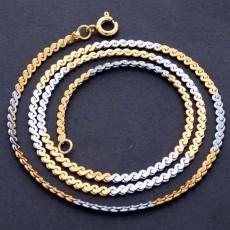 สร้อยคอแฟชั่น เส้นเล็กดีไซน์สายโซ่2กษัตริย์ 24K Double Chain Necklace นำเข้า สีเงินทอง - พร้อมส่งW667 ราคา300บาท