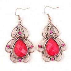 ต่างหูเงิน แฟชั่นเกาหลีแบบห่วงประดับคริสตัล Ruby Crystal Silver Earrings นำเข้า สีชมพู - พร้อมส่งW668 ลดราคา99บาท