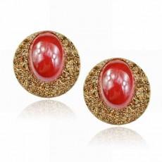 ต่างหูรูปวงรี แฟชั่นเกาหลีเรซิ่นแต่งทองระยิบระยับ Jewelry Earrings เป็นของขวัญ นำเข้า สีแดง - พร้อมส่งW671 ลดราคา99บาท