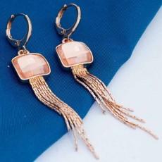 ต่างหูระย้า แฟชั่นเกาหลีประดับคริสตัลตุ้งติ้งสวยหรู  18K Drop Tassel Earrings นำเข้า สีแชมเปญ - พร้อมส่งW673 ลดราคา99บาท