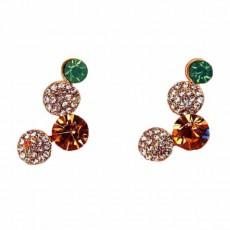 ต่างหูระย้า แฟชั่นเกาหลีประดับคริสตัลรูปวงกลมสลับสวยมาก Crystal Earrings นำเข้า สีทอง - พร้อมส่งW677 ลดราคา99บาท