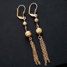 ต่างหูระย้า แฟชั่นเกาหลีประดับคริสตัลบอลตุ้งติ้งสวยหรู 24K Drop Tassel Earrings นำเข้า สีทอง - พร้อมส่งW682 ลดราคา99บาท