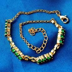 กำไลข้อมือ แฟชั่นเกาหลีสร้อยคริสตัลทองคำสวยน่ารักใหม่ 18K Gold Bracelet นำเข้า สีเขียว - พร้อมส่งW685 ราลดราคา129บาท