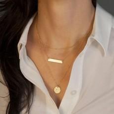 สร้อยคอแฟชั่น เส้นเล็กแนววินเทจและเหรียญทอง3ชั้นสวยหรู 3 Chain Necklace นำเข้า สีทอง - พร้อมส่ง689 ราคา250บาท