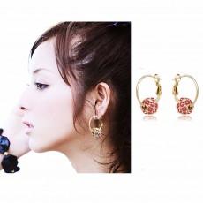 ต่างหูระย้า แฟชั่นเกาหลีประดับคริสตัลคริสตัลบอลแดงสวยหรู Sphere Hoop Earrings นำเข้า สีทอง - พร้อมส่งW690 ลดราคา99บาท