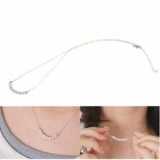 สร้อยคอแฟชั่น เส้นเล็กประดับคริสตัลสวยหรู นำเข้า สีเงิน Crystal Chain Necklace - พร้อมส่งW692 ราคา250บาท