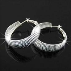 ต่างหูห่วง แฟชั่นเกาหลีลายตาข่ายทรงวงกลมสวย Silver Earrings นำเข้า สีเงิน - พร้อมส่งW695 ลดราคา99บาท