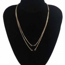 สร้อยคอแฟชั่น เส้นเล็กยาวระย้า2ชั้นจี้คริสตัลดำ 2 Chain Necklace นำเข้า สีทอง - พร้อมส่งW696 ราคา150บาท