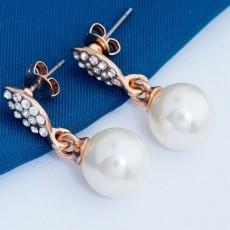 ต่างหูมุกคริสตัล ของขวัญแฟชั่นเกาหลีทรงหยดน้ำสวย 18K Gold Pearl Earrings นำเข้า สีทอง - พร้อมส่งW702 ลดราคา99บาท