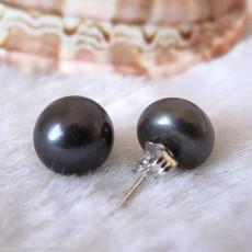 ต่างหูมุกแท้ ขนาด7-8mm สวยหรูหราก้านเงินแท้925 Genuine Pearl Earrings นำเข้า สีดำ - พร้อมส่งW773 ราคา550บาท