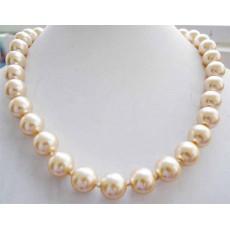 สร้อยคอมุก แฟชั่นเกาหลีออกงานราตรีแต่งงาน8mm Shell Pearl Necklace นำเข้า สีเหลือง - พร้อมส่งW721 ราคา 490 บาท