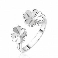 แหวนแฟชั่นเกาหลี รูปกลีบดอกไม้ปลายเปิด size 8 Silver Flower Ring นำเข้า สีเงิน - พร้อมส่งW761 ราคา220บาท