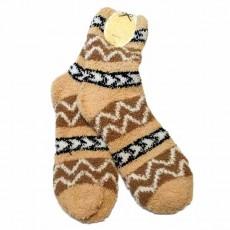 ถุงเท้ากันหนาว เนื้อคล้ายผ้าขนหนูนุ่มมากลายวินเทจยาว28ซม สีน้ำตาล นำเข้า - พร้อมส่งW769 ราคา99บาท