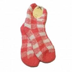 ถุงเท้ากันหนาว เนื้อคล้ายผ้าขนหนูนุ่มมากลายขวางยาว28ซม สีขาวชมพู นำเข้า - พร้อมส่งW770 ราคา99บาท
