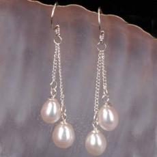 ต่างหูมุกแท้ ขนาด7-8mm สวยหรูหราก้านเงินแท้925 Genuine Pearl Earrings นำเข้า สีขาว - พร้อมส่งW772 ราคา550บาท