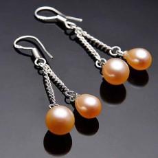 ต่างหูมุกแท้ ขนาด7-8mm สวยหรูหราก้านเงินแท้925 Genuine Pearl Earrings นำเข้า สีส้ม - พร้อมส่งW772 ราคา550บาท