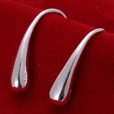 ต่างหูเงินแท้ แบบเรียบแฟชั่นเกาหลีเป็นห่วงคล้อง 925 Silver Earrings นำเข้า สีเงิน - พร้อมส่งW776 ราคา300บาท
