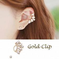 ต่างหูคลิป แฟชั่นเกาหลีหนีบใบหูแต่งมุกคริสตัล Ear Cuff  Clip On Earrings นำเข้า สีทอง - พร้อมส่งW790 ลดราคา129บาท