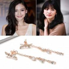 ต่างหูแฟชั่นเกาหลี ดีไซน์วินเทจรูปใบไม้สวยคริสตัลระย้าหรู Drop Earrings นำเข้า สีทอง - พร้อมส่งW794 ลดราคา129บาท