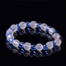 กำไลหินแฟชั่น สร้อยข้อมือหินสีขาวสลับคริสตัลธรรมชาติสีน้ำเงิน นำเข้า - พร้อมส่งW795 ลดราคา99บาท
