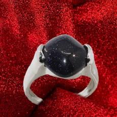 แหวนเงินทรายเงิน นำโชคประดับหญิงและชาย size 7 Silver Sand Stone Ring นำเข้า - พร้อมส่งW800 ราคา450บาท