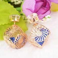 ต่างหูคริสตัล ใหม่แฟชั่นเกาหลีใส่ได้2ด้านสวย Celebrity Earrings นำเข้า สีน้ำเงิน - พร้อมส่งW807 ลดราคา99บาท
