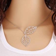 สร้อยคอแฟชั่น รูปใบไม้ นำเข้า สีเงิน Leaf Retro Necklace - พร้อมส่งW813 ลดราคา129บาท