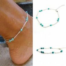 สร้อยข้อเท้าเงิน แฟชั่นเกาหลีหินเทอควอยซ์สีฟ้า Silver Turquoise Ankle Bracelet นำเข้า - พร้อมส่งW816 ลดราคา129บาท