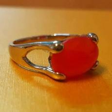 แหวนเงินหินสีแดง นำโชคประดับหญิงและชาย size 8 Silver Stone Ring นำเข้า - พร้อมส่งW823 ราคา450บาท